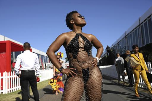 Zodwa Wabantu wearing little beyond 4,000 crystal embellishments in her dress at Durban July. /Jackie Clausen