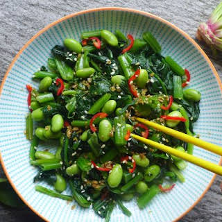 Spinach And Soybean Salad With Ginger Dressing (姜汁菠菜毛豆).