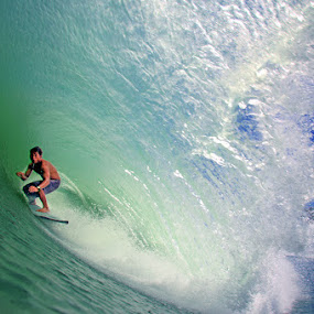 Surfing Big Barrel by Paul Kennedy - Sports & Fitness Surfing ( surfing, waves )