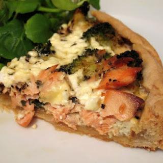 Low Fat Salmon and Broccoli Quiche.