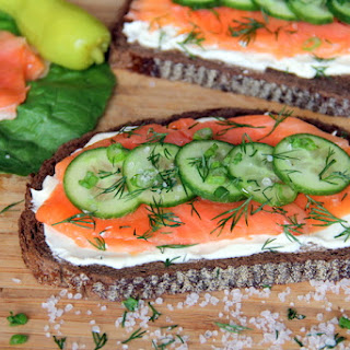 Open-Faced Smoked Salmon Sandwich with Cucumber, Dill and Crème Fraîche.