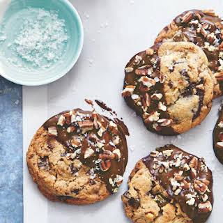 Chocolate-Dipped Toffee-Pecan Cookies.