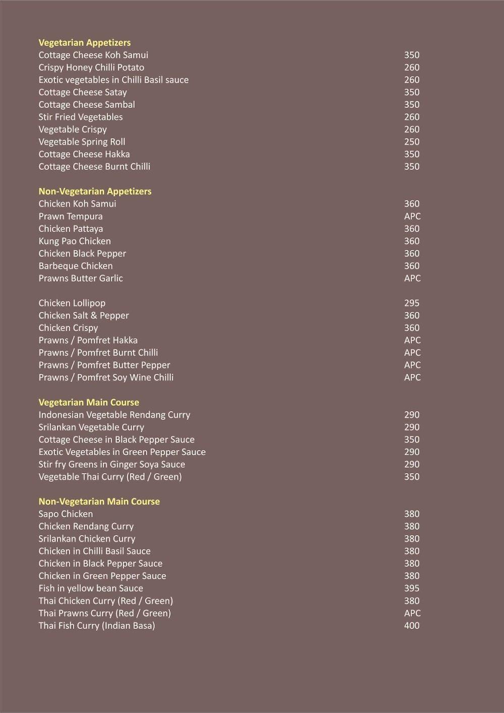 The Oaks - Lounge & Bar - GCC Hotel & Club menu 4