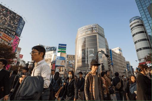 japon Tokyo monde gens marche traverse masque akihabara Shibuya