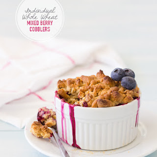 Individual Whole Wheat Mixed Berry Cobblers {Dairy-Free}