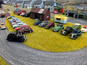 Photo: 011 I'm not sure if this cavalcade of Oxford Diecast and Pocketbond Classix cars is the station carpark or a classic car rally but it has certainly given me some ideas about displaying some of my own large collection of 1:76 vehicles in a narrow gauge railway preservation era theme…………..