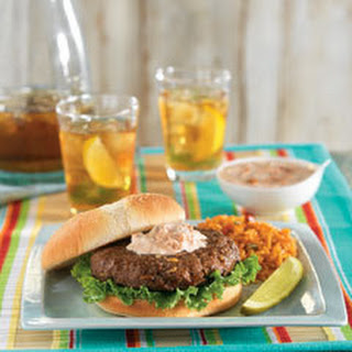 Lipton Onion Burgers with Creamy Salsa & Spanish Rice Recipe