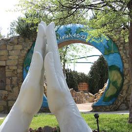 Praying Hands by Debbie Jones - Buildings & Architecture Statues & Monuments ( prayer, statue, monument, garden )