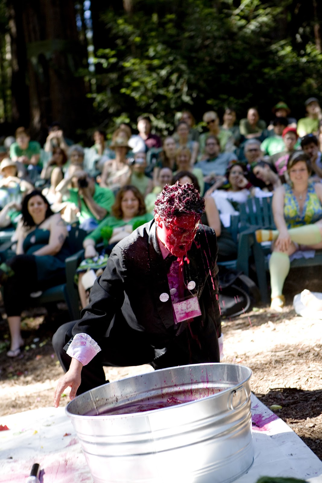 Danielle Abrams dunks her head in beets during the performance Routine