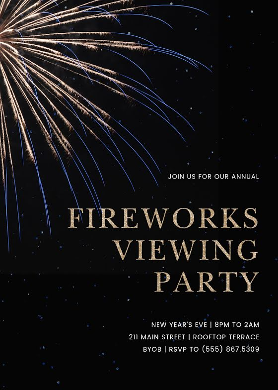 Fireworks Viewing Party - New Year's Card Template