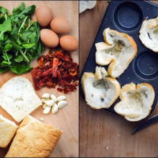 30-Minute Sundried Tomato & Arugula Eggs & Toast Quichelets.