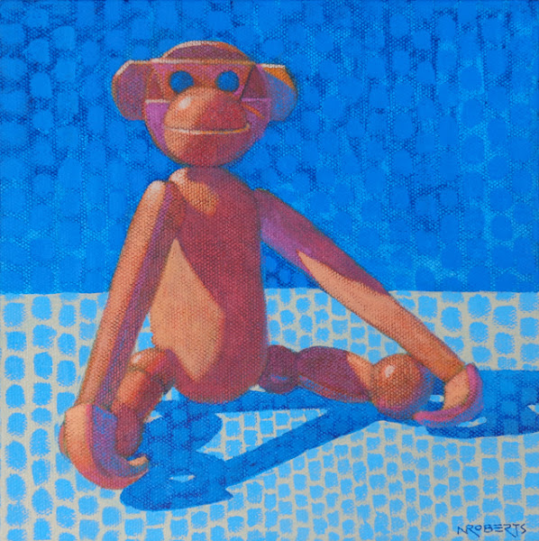 """Photo: """"Cheeky Enjoys a Quiet Moment"""", acrylic on canvas, 8"""" x 8"""", by Nancy Roberts, copyright 2016."""