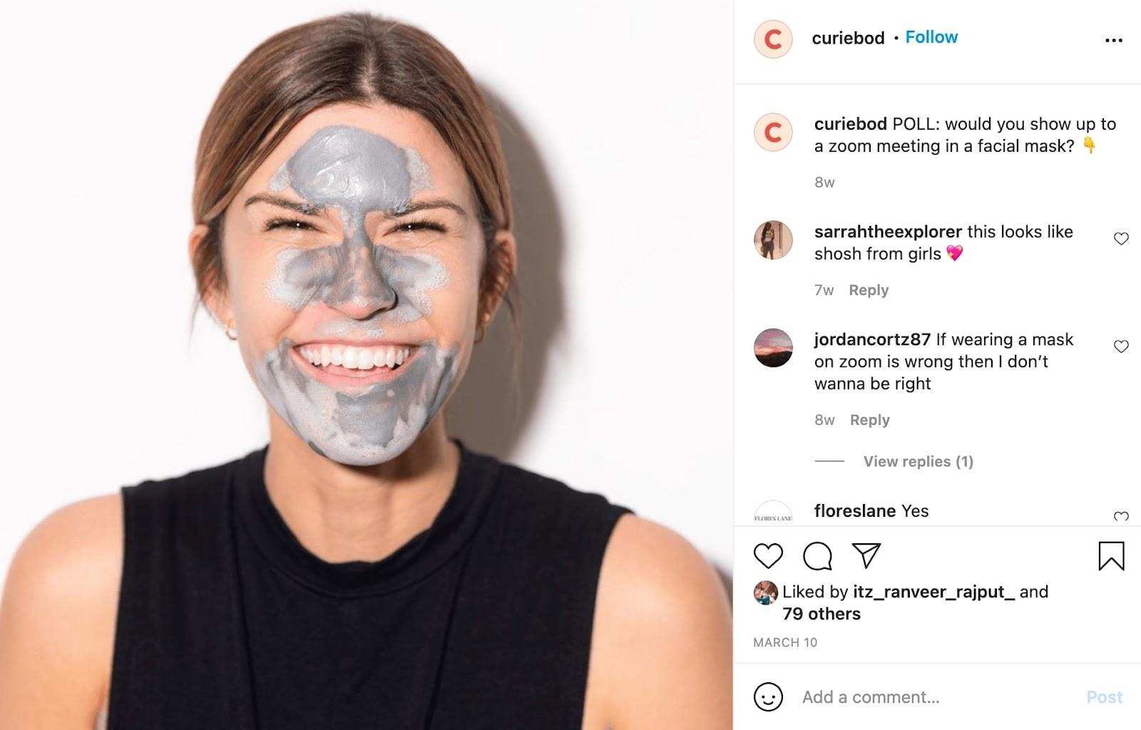 Instagram Post from Curie that features a woman with brown hair smiling. On her face is Curie's detox mask which is a grey mask covering her forehead, nose, and chin area.