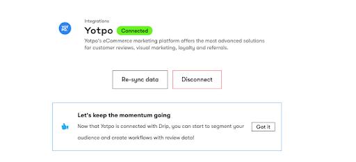 Drip and Yotpo Integration Screenshot