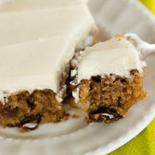 Oatmeal-Raisin Snack Cake with Cream Cheese Frosting.