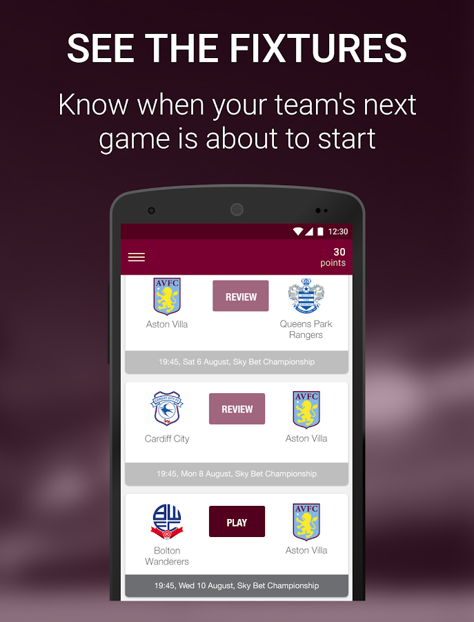 Aston Villa FanScore- screenshot