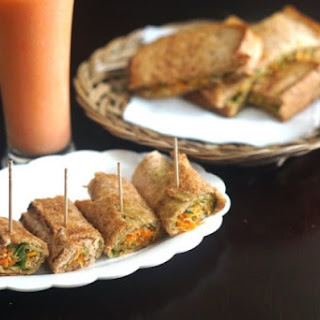 CARROT AND VERMICELLI STUFFED BROWN BREAD ROLL