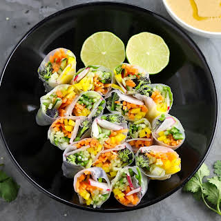 Spring Veggie Rolls with Peanut Dipping Sauce.