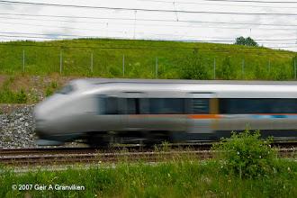 Photo: BM71 Airport Express train (Flytoget), which operates Drammen- Oslo-Gardermoen airport