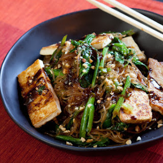 Yu Choy Cellophane Noodle Stir-Fry with Tofu & Peanuts