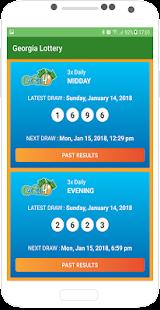 screenshot of Georgia Lottery mobile app winning numbers