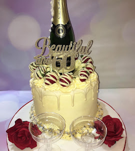 Champagne themed drip cake