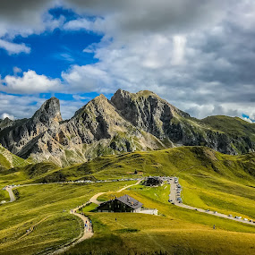 by Mario Horvat - Landscapes Mountains & Hills ( clouds, travel, iphone, landscape, pass, touristic, sky, dolomiti, passo, italia, outdoor, dolomites, italy, giau,  )