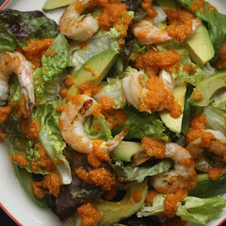Grilled Shrimp Salad with Avocado and Carrot Ginger Dressing.
