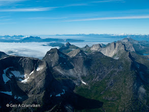 Photo: Mountains in Nordland, with Vestfjorden and Lofoten in the background