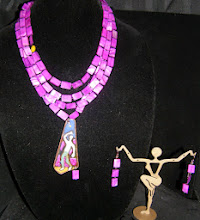 Photo: <BEREHYNYA> {Great Goddess Protectress} unique one-of-a-kind statement jewellery by Luba Bilash ART & ADORNMENT  #94 - STAR CONNECTION ~ СПОЛУЧЕННЯ ЗІРКОЮ - copper enamel pendant; shell; glass separators; rose gold vermeil chains/findings; copper $160/set SOLD