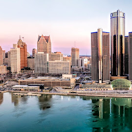 Detroit Riverfron by Pat Eisenberger - City,  Street & Park  Skylines ( detroit river, panorama, aerial photography, michigan, detroit, river, riverfront, drone photography, aerial )
