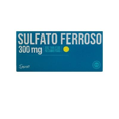 hierro sulfato ferroso 300mg blister 10tabletas laproff