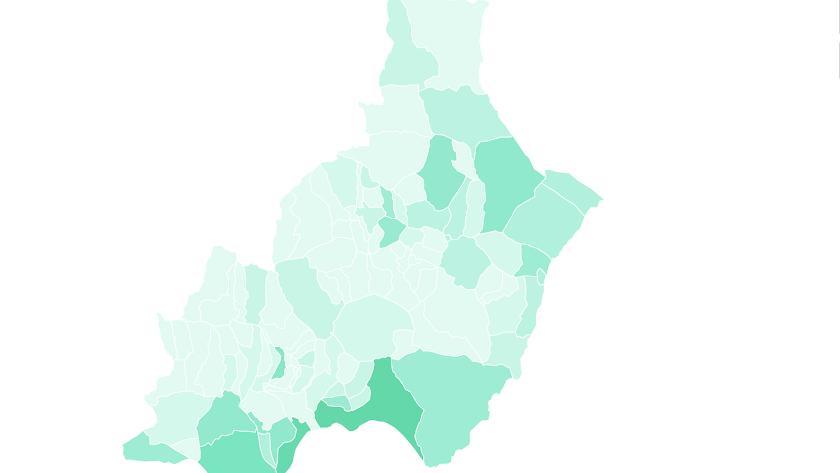 Mapa de la provincia de Almería.