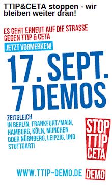 Werbe-Plakat für 7 Demos am 17. September 2016.