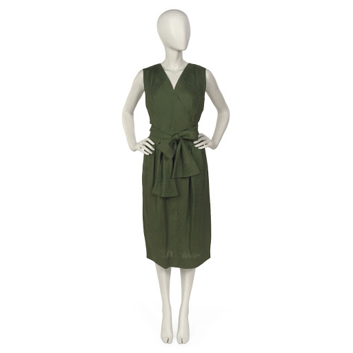Day dress of olive green silk matelasse