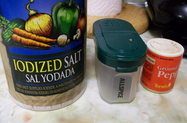 Add salt, ground allspice, white pepper, and onion. Mix well.