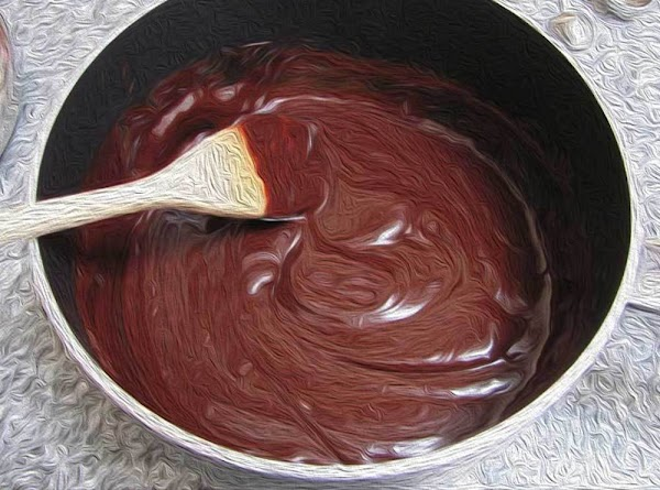 Reduce heat to the lowest possible setting, and then add the chocolate and stir...