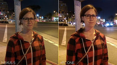 Photo: Low-light. The Nexus 5 was in HDR+ mode and the HTC One was in normal mode.