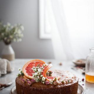 Semolina Cake + Rose & Grapefruit Syrup.