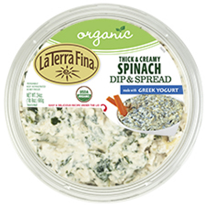 Top lid label, La Terra Fina Organic Thick & Creamy Spinach Dip & Spread,    24 oz