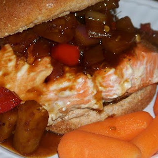 Sweet Teriyaki and Pineapple Salmon Burger