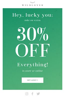 Get Lucky 30% Off - St. Patrick's Day item