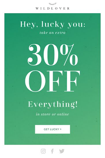 Get Lucky 30% Off - St. Patrick's Day template