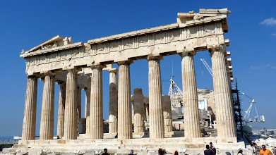 Photo: Parthenon - just below the Pediment is a row of triglyphs, the metopes between them had releif statues
