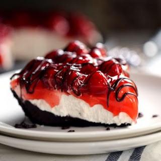 Black Bottom No Bake Cherry Cheesecake.