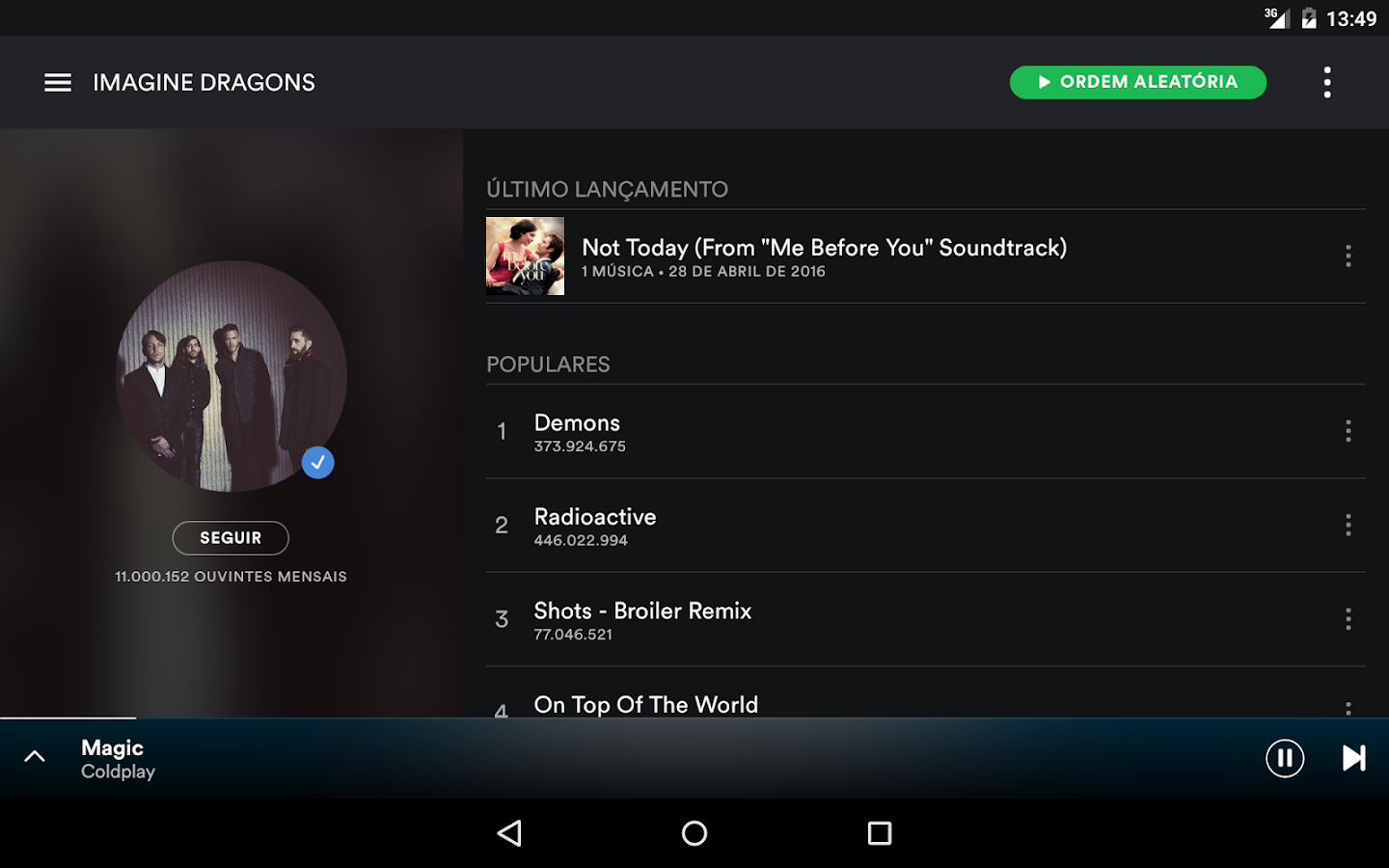 Spotify Music– captura de ecrã