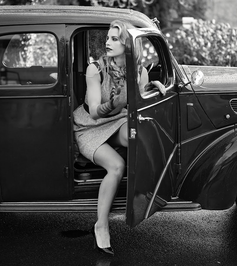 Vogue Williams  by Ioan G Hiliuta - People Fashion ( car, vogue, autumn winter, black and white, vintage, bw, vogue williams )