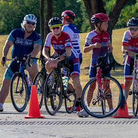 Junior Cyclists and their Coach by Bert Templeton - People Street & Candids ( cyclists, racing, race, richardson, usac, cycling, texas, coach, junior, bike )