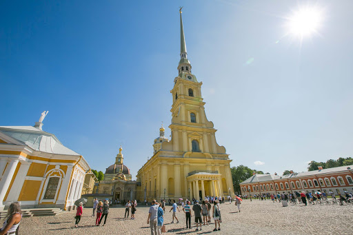 saints-peter-and-paul-cathedral.jpg - The Cathedral of Sts. Peter and Paul is home to the graves of nearly all the rulers of Russia since Peter the Great. (By the way, the buildings on the sides aren't really falling over.)