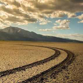 Washoe Lake Bed by John Shelton - Landscapes Deserts ( clouds, nevada, cracked mud, tire tracks, landscape, washoe lake, dry lake )